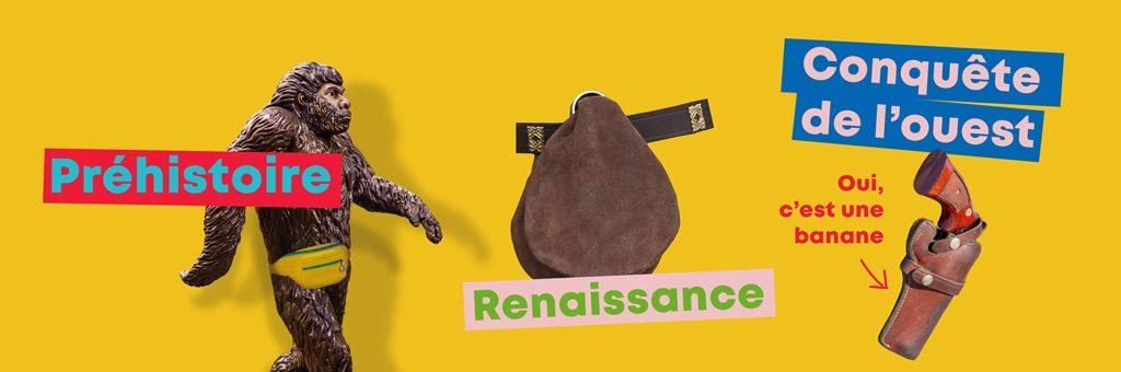 Frise chronologique du sac banane, goodies personnalisé, cow-boy, renaissance, préhistoire, indiens, homme de cromagnon