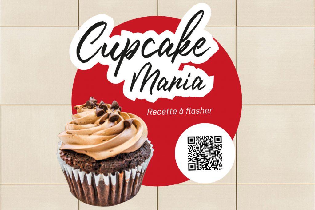 sticker de sol avec qr code cupcake