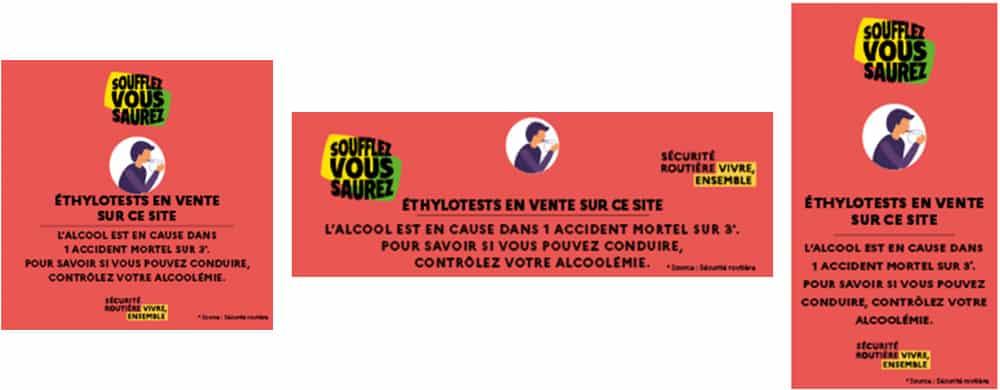 Bandeau web obligatoire ethylotest | Pandacola